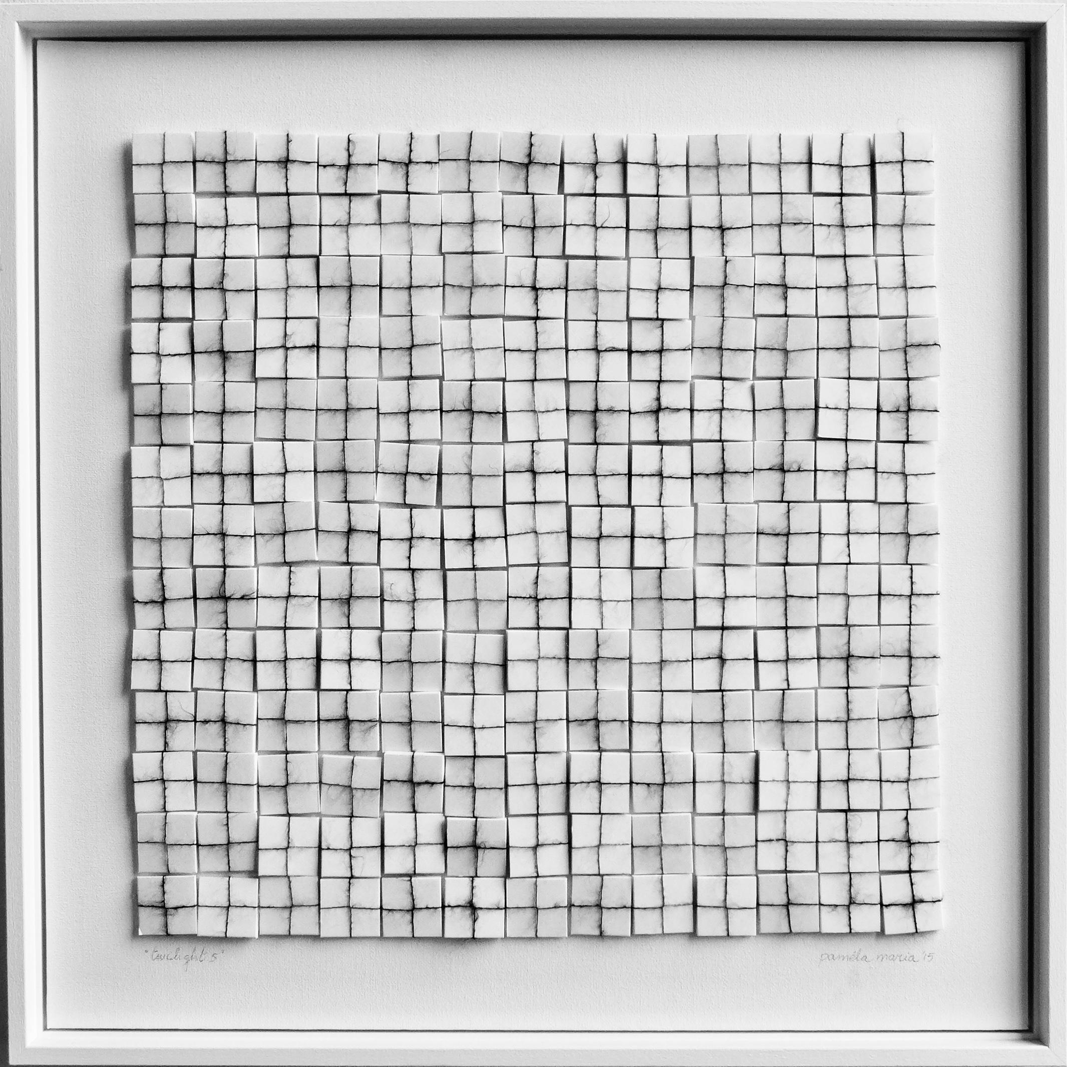 2015, 50x50cm, wit houten lijst, foam met grijsgemeleerd mohair, lijm, canvas